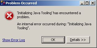 "An internal error occurred during: ""Initializing Java Tooling"""